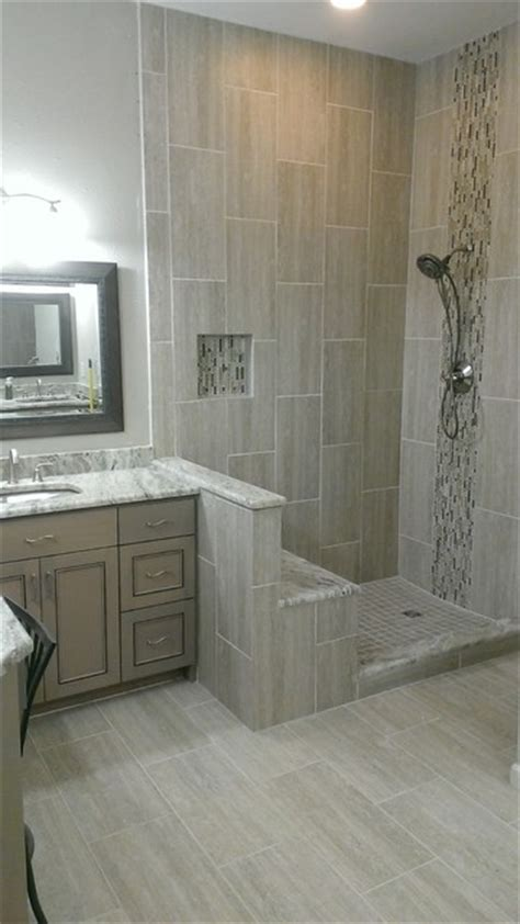master bathroom complete remodel    vertical tile contemporary bathroom austin
