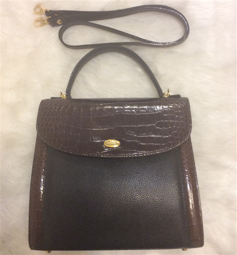 Handbag Bally 5668 2 2 bally authentic vintage 2 tone croc pebbled leather trim