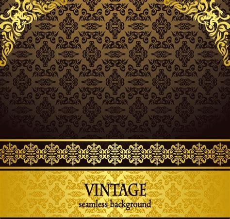 golden svg pattern background free vintage golden floral pattern background vector 03