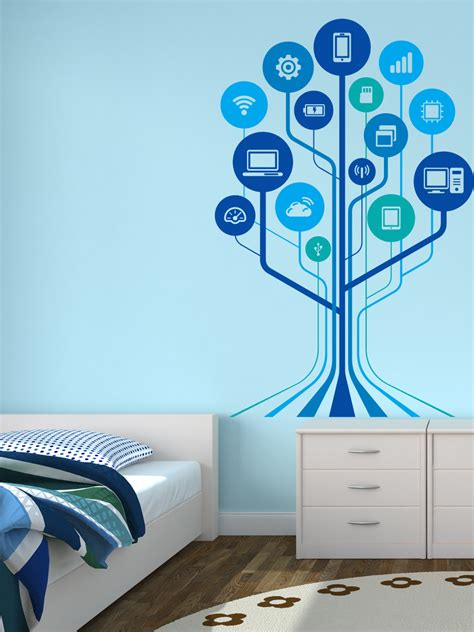 Red White And Blue Kitchen - technology tree modern wall decal home decor india by wallmantra