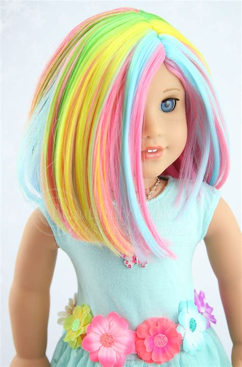 pastel colored wigs watercolor doll wig rainbow pastel colored for custom
