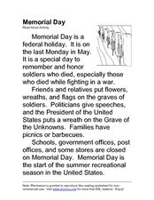 memorial day esl read aloud activity 2nd 3rd grade
