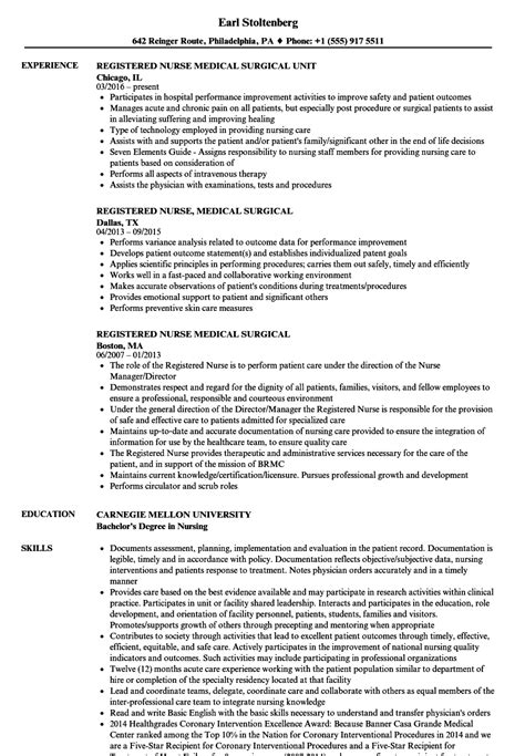 nursing resume examples lovely med surg rn resume examples examples