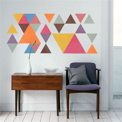 geometric wall decor mid century modern triangles sticker - Mid Century Modern Wall Decor