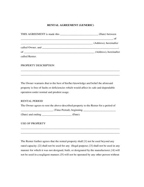 generic lease agreement template generic rental agreement free