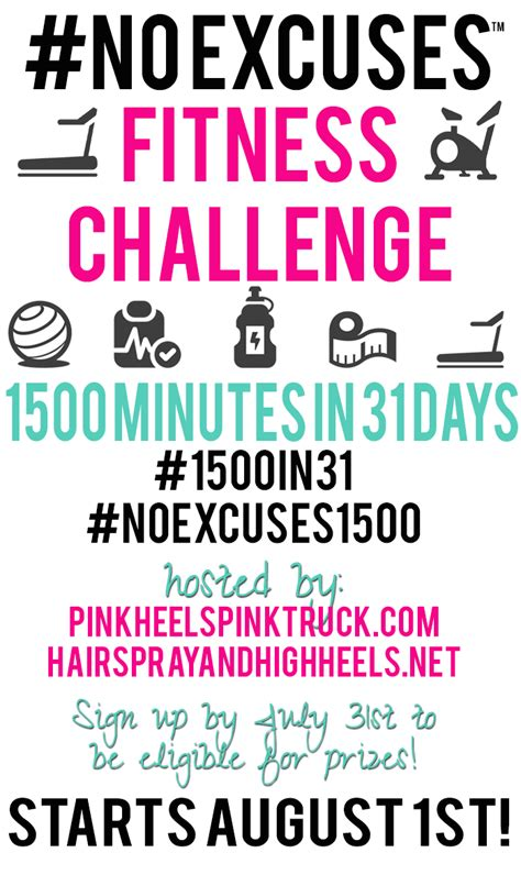 prizes for fitness challenges noexcuses fitness challenge 1500in31 hairspray and