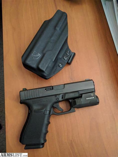glock 19 iwb holster with light armslist for sale inforce aplc glock 19 23 iwb holster