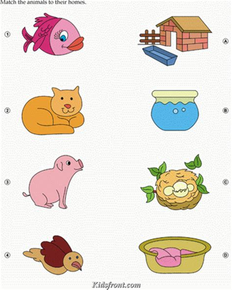 9 Letter Words Starting With Bea Activity Match Animals Fish Cat Bird With