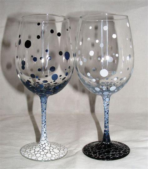 Wine Glass Painting Ideas - painted wine glasses ideas one pair painted wine