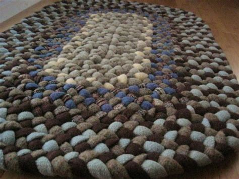 Braided Bathroom Rugs by Handmade Wool Oval Braided Rug Or Bath Mat In Sky Blue And Chocolate Ready To Ship Braided Rug