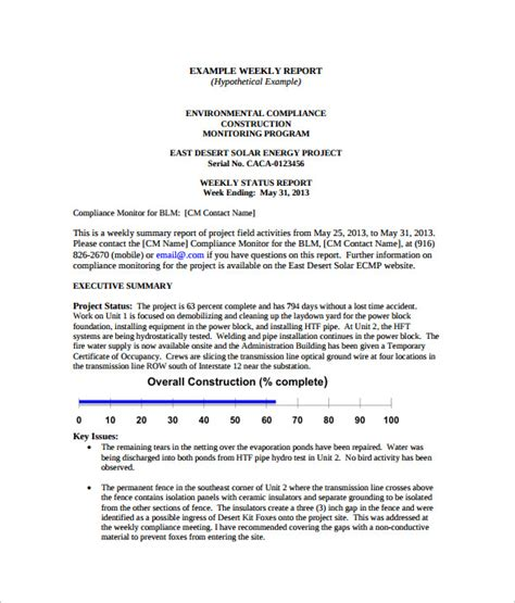 activity status report template sle weekly activity report 17 documents in word pdf