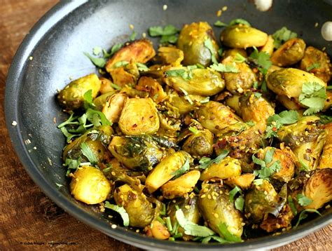 Simple Vegetarian Main Dishes - pan roasted brussels sprouts subzi with turmeric cumin and mustard seeds vegan richa