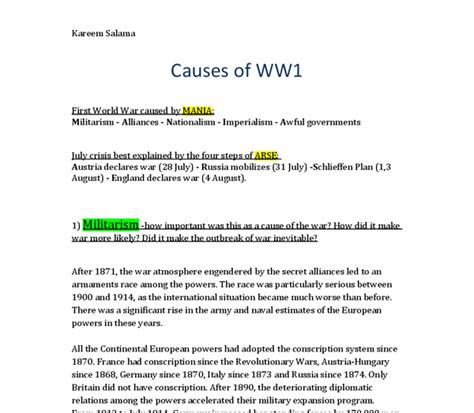 Causes Of The World War Essay by Causes Of Ww1 Essay Militarism