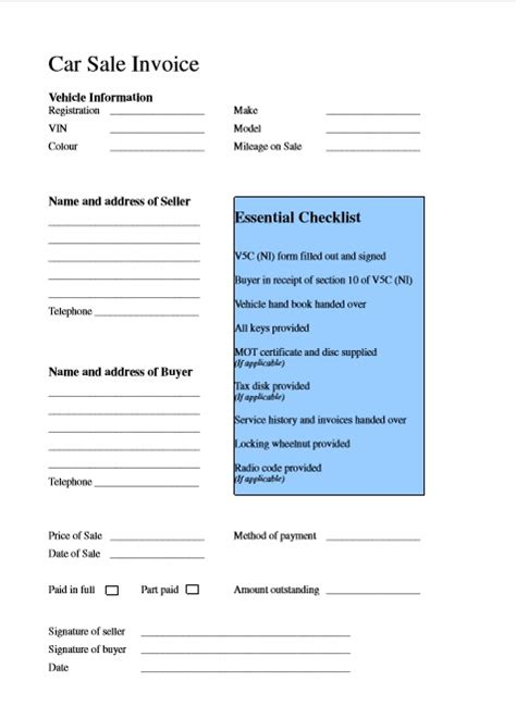 car sale invoice template word excel  excel tmp