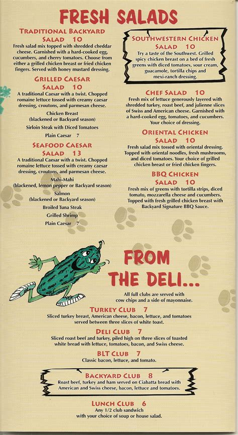 backyard menu backyard grill and bar menu backyard grill and bar