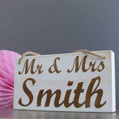 personalised mr and mrs hanging wooden sign by