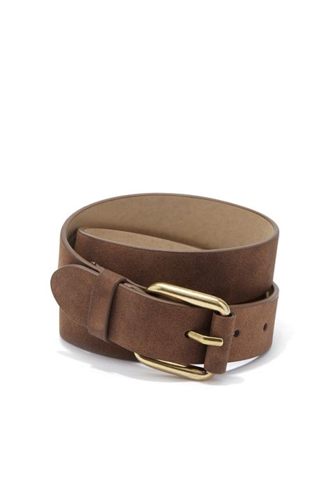 forever 21 faded faux leather belt in brown lyst