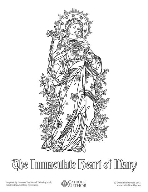The Immaculate Heart Of Mary Free Hand Drawn Catholic Catholic Coloring Pages Free