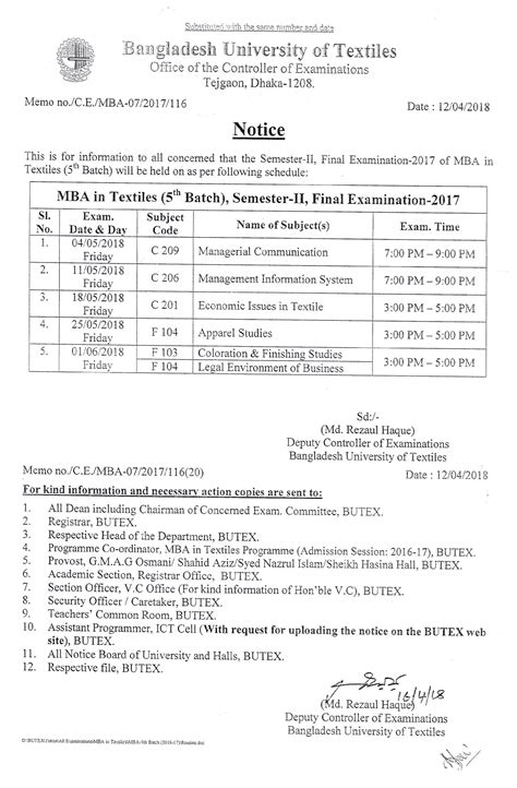 Mba Syllabus 2017 by Schedule Mba In Textiles Program Examination