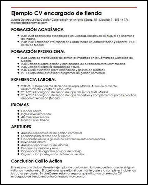 Plantilla Curriculum Vitae Para Tienda De Ropa Ejemplo Cv Encargado De Tienda Micvideal