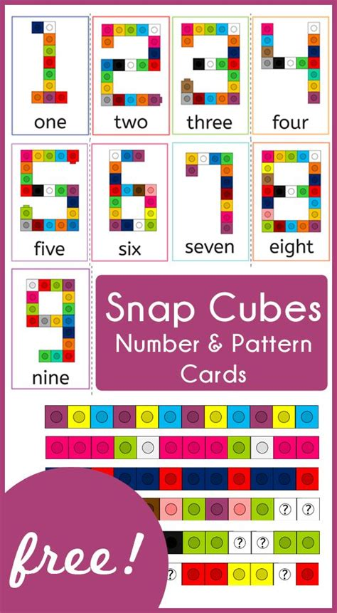 number pattern games to print snap cubes number and pattern cards math patterns and