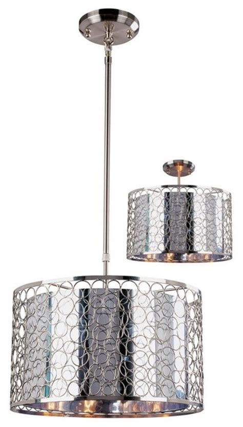 Metal Drum Pendant Light Three Light Chrome Maylar Metal Shade Drum Shade Pendant Contemporary Pendant Lighting By