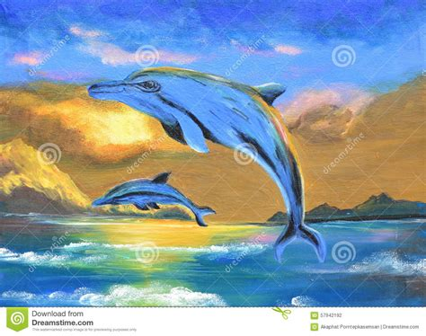 dolphin   sea oil painting  canvas stock photo