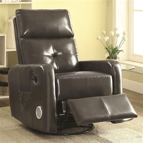 recliner speakers swivel glider recliner w bluetooth and speakers grey