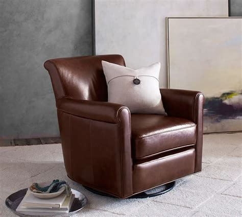 pottery barn leather irving leather swivel glider pottery barn