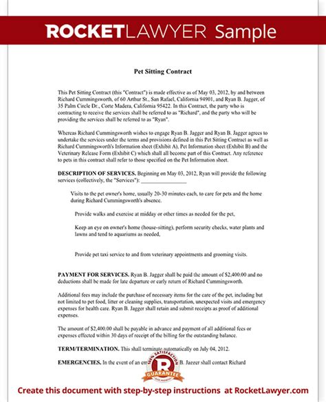 Pet Sitting Contract Template Service Agreement Form For Pet Care Pet Sitter Template