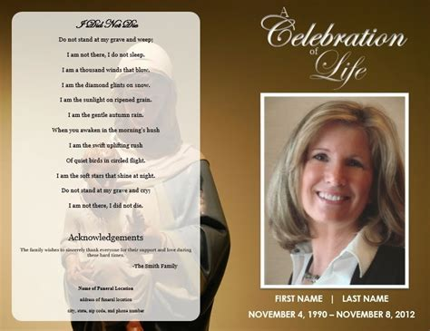 Funeral Program Template the funeral memorial program free funeral program