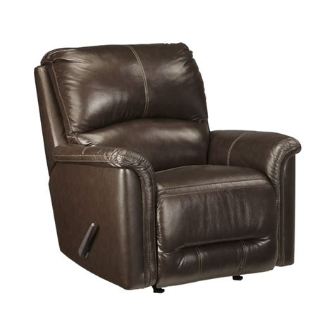 ashley leather recliners ashley lacotter leather rocker recliner in chocolate 8660025