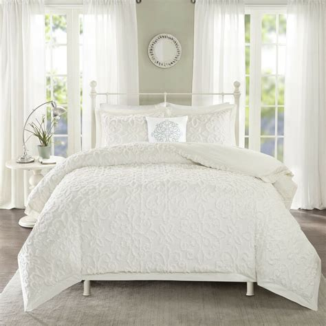 White Bed Set by Park White Tufted Comforter 4 Set Ebay