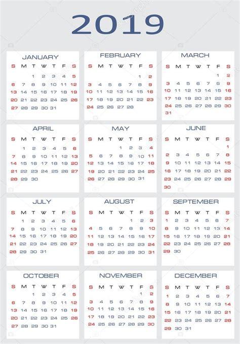 Calendã Feriados 2019 Vector Calendar For 2019 Stock Vector 169 Mitay20 14526341