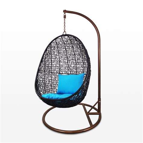 Black Cocoon Swing Chair, Blue Cushion   Home & Style