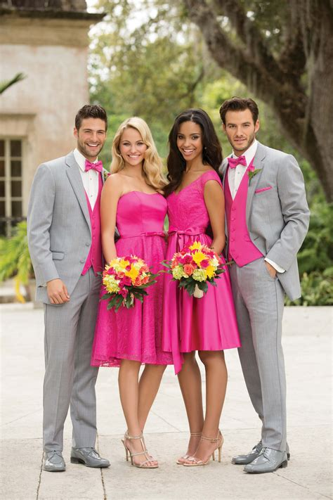 Bridesmaid Dresses And Tuxedos - pink for bridesmaids and light grey tuxedo with pink