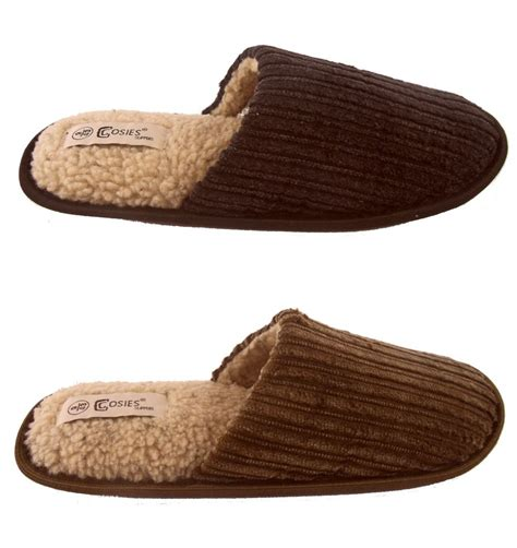 mules slippers mens cosies cord mules slippers grey brown sizes 6 11 ebay