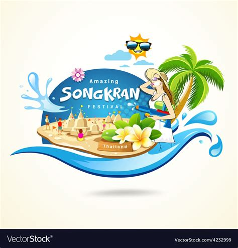 thailand new year background royalty amazing songkran festival in thailand royalty free vector