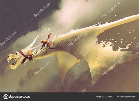 drago volante uomo guida il drago volante bianco contro un cielo
