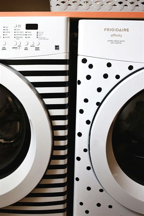 patterned electrical tape stripes and dots elsie s washer dryer makeover a