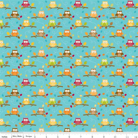 doodlebug designs fabric turquoise owl fabric c4033 harvest friends
