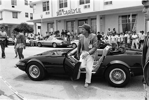 driving the original miami vice boat in the scene sonny crockett is shown driving a ferrari