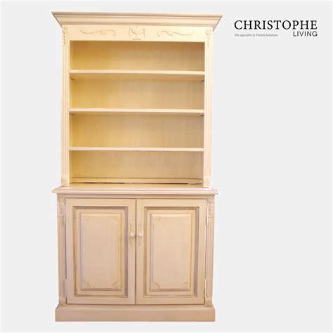 louis xvi bookcase with doors antique white christophe