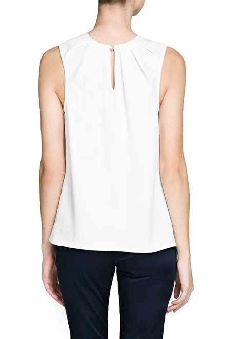 Gap White Pleated Blouse mango pleated neck crepe blouse in white lyst