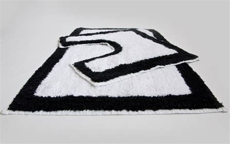 black and white bathroom rug set 2 100 cotton non slip bath mat and pedestal set in white black ebay