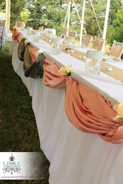 burlap draping wedding burlap rustic wedding head table decoration peach and