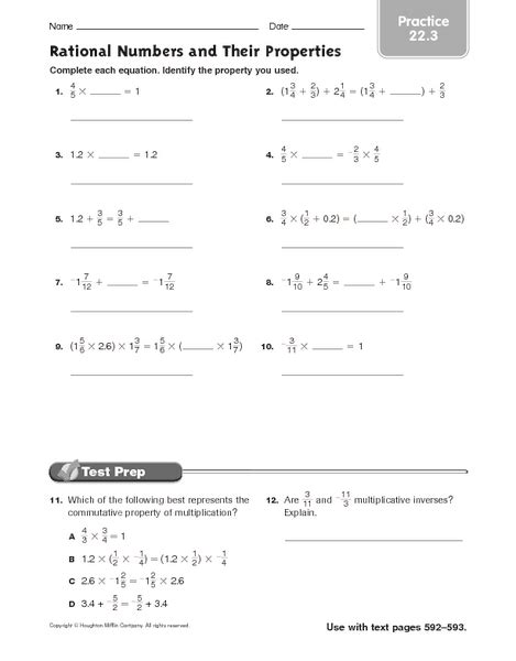 Rational Numbers Worksheets 8th Grade by Worksheets Properties Of Numbers Worksheet Opossumsoft