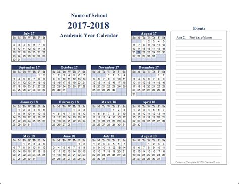 academic calendar year template academic calendar templates for 2016 2017