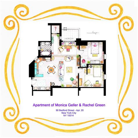 layout of monica s apartment detailed floor plans of tv show apartments 171 twistedsifter