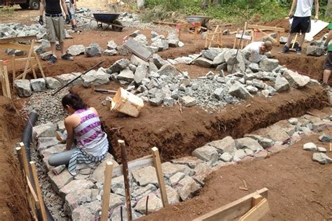 how to lay a foundation for a house diy stone foundation thehomesteadingboards com